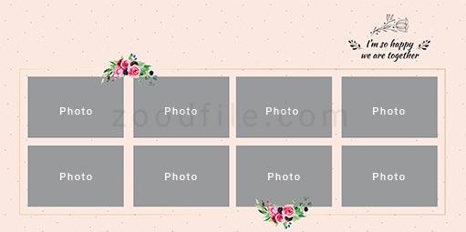 لایه باز آلبوم عکس عروسی Romantic طرح 1