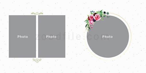 لایه باز آلبوم عکس عروسی Romantic طرح 2