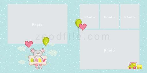 لایه باز آلبوم عکس کودک Newborn طرح 3