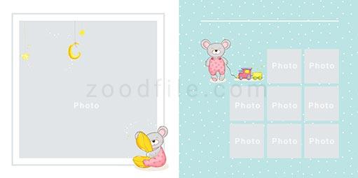 لایه باز آلبوم عکس کودک Newborn طرح 5