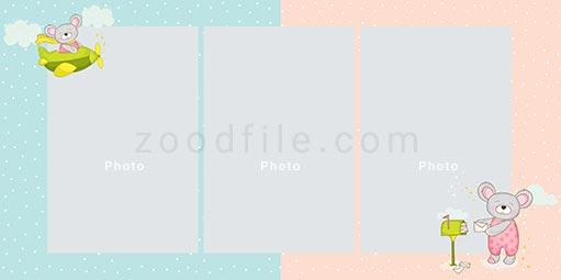 لایه باز آلبوم عکس کودک Newborn طرح 6
